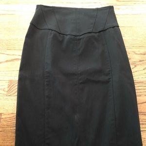 Black knee length high waist pencil skirt